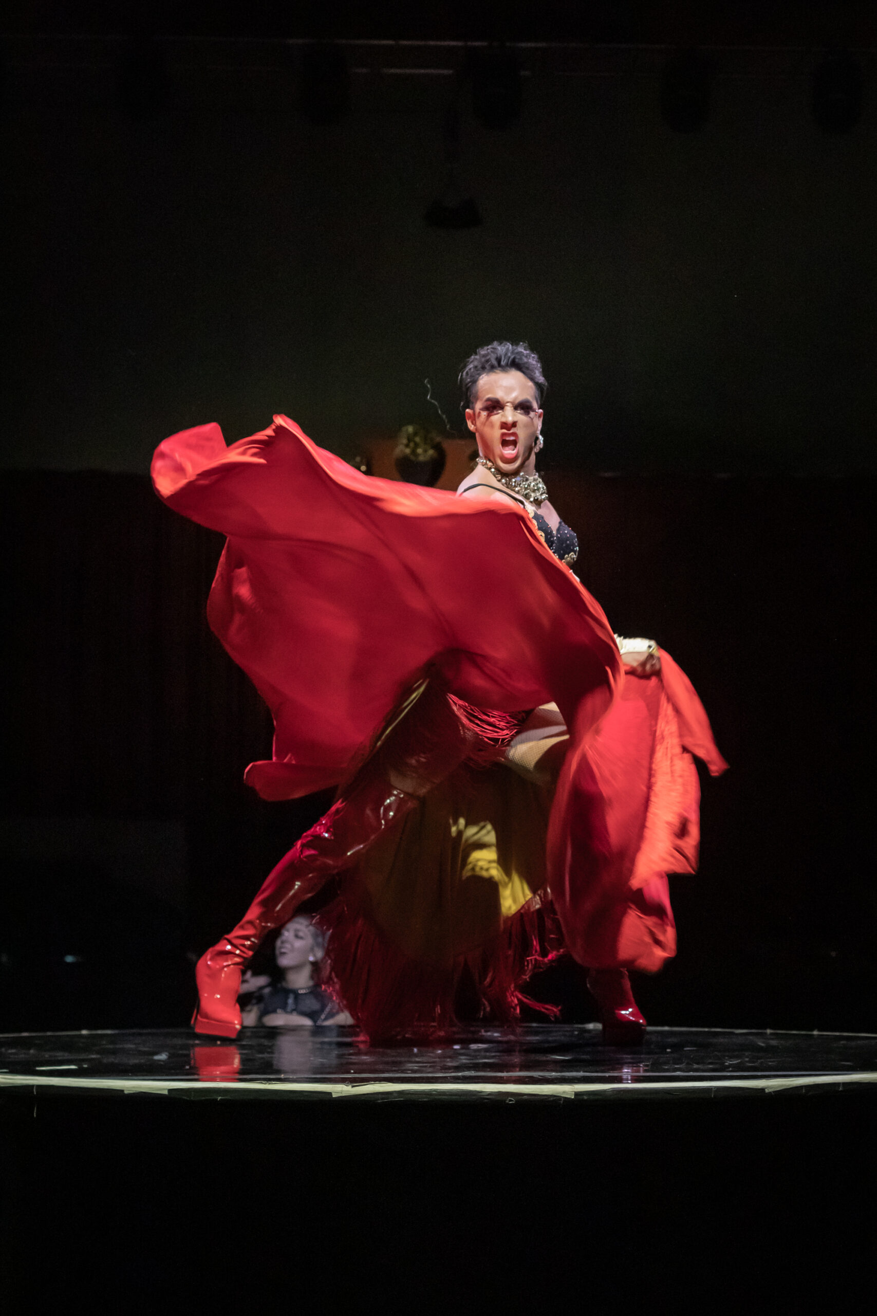 Image of Paloma performing at Vau de Vire's The Soiled Dove dinner theater Under the Tortona Big Top in Downtown Oakland