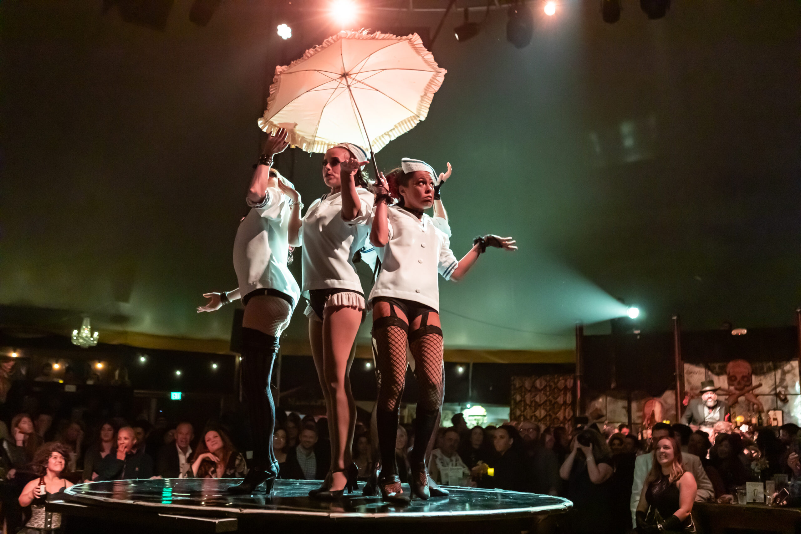 Image of Vau de Vire Society dancers performing at Vau de Vire's The Soiled Dove dinner theater Under the Tortona Big Top in Downtown Oakland