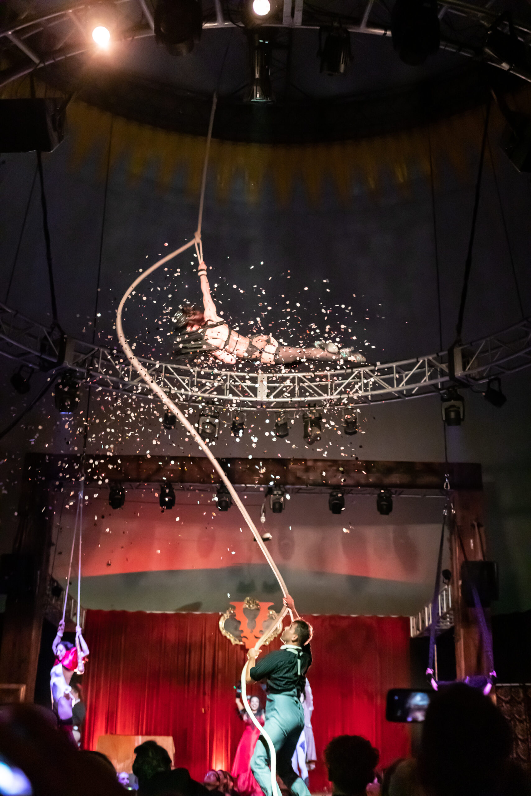 Image of Dwoira Galilea and Mikey the Rigger performing at Vau de Vire's The Soiled Dove dinner theater Under the Tortona Big Top in Downtown Oakland