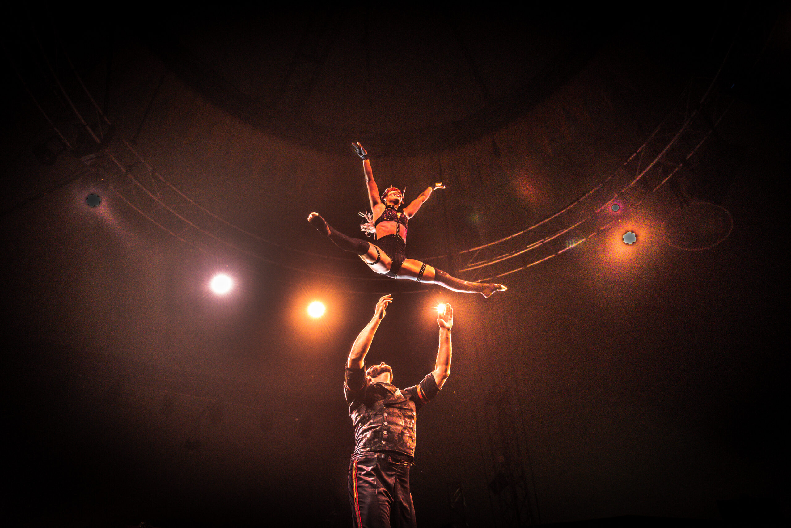 Image of Anngela Burt and Jon Dutch performing at Vau de Vire's The Soiled Dove dinner theater Under the Tortona Big Top in Downtown Oakland