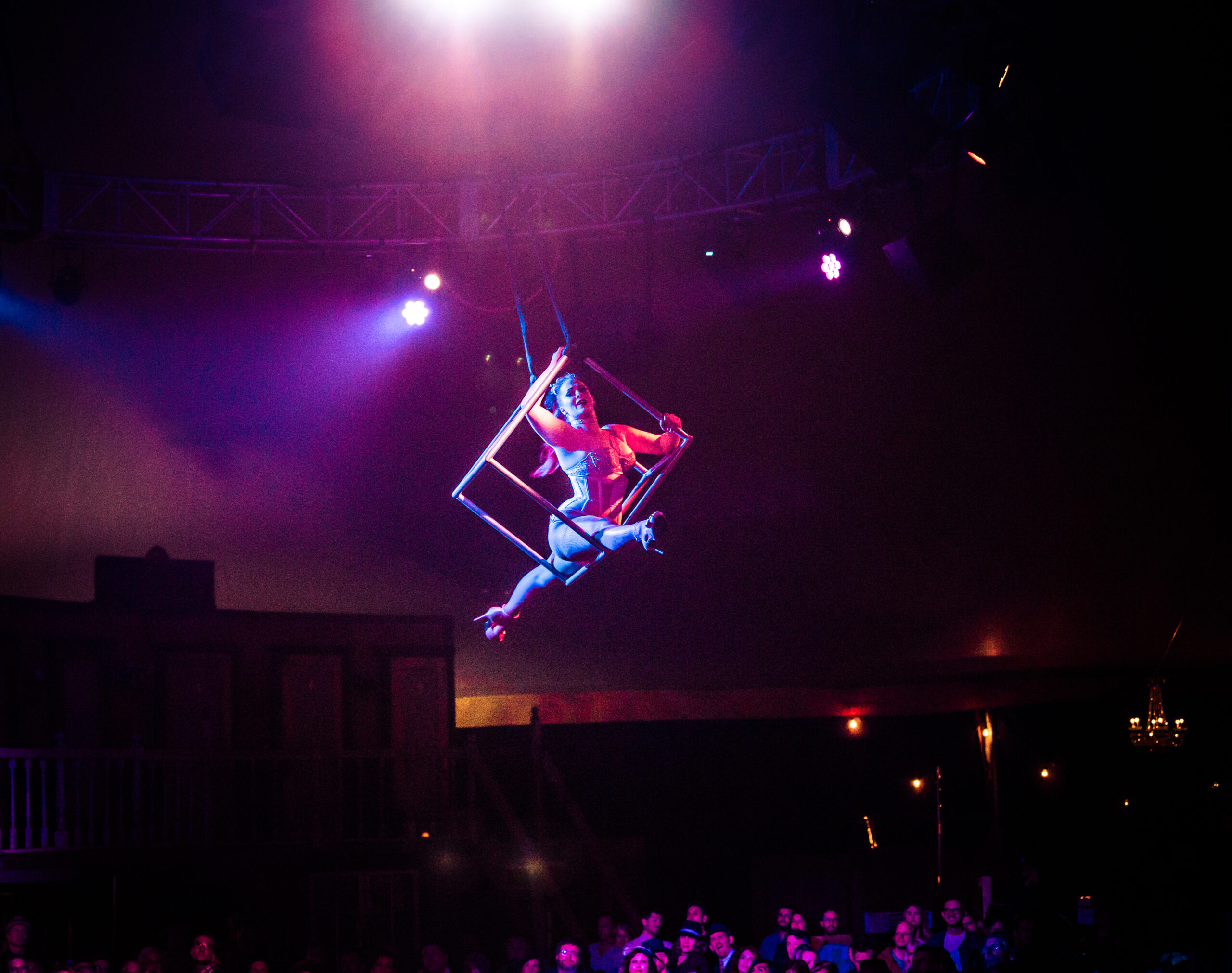 Image of Mz. K performing at Vau de Vire's The Soiled Dove dinner theater Under the Tortona Big Top in Downtown Oakland