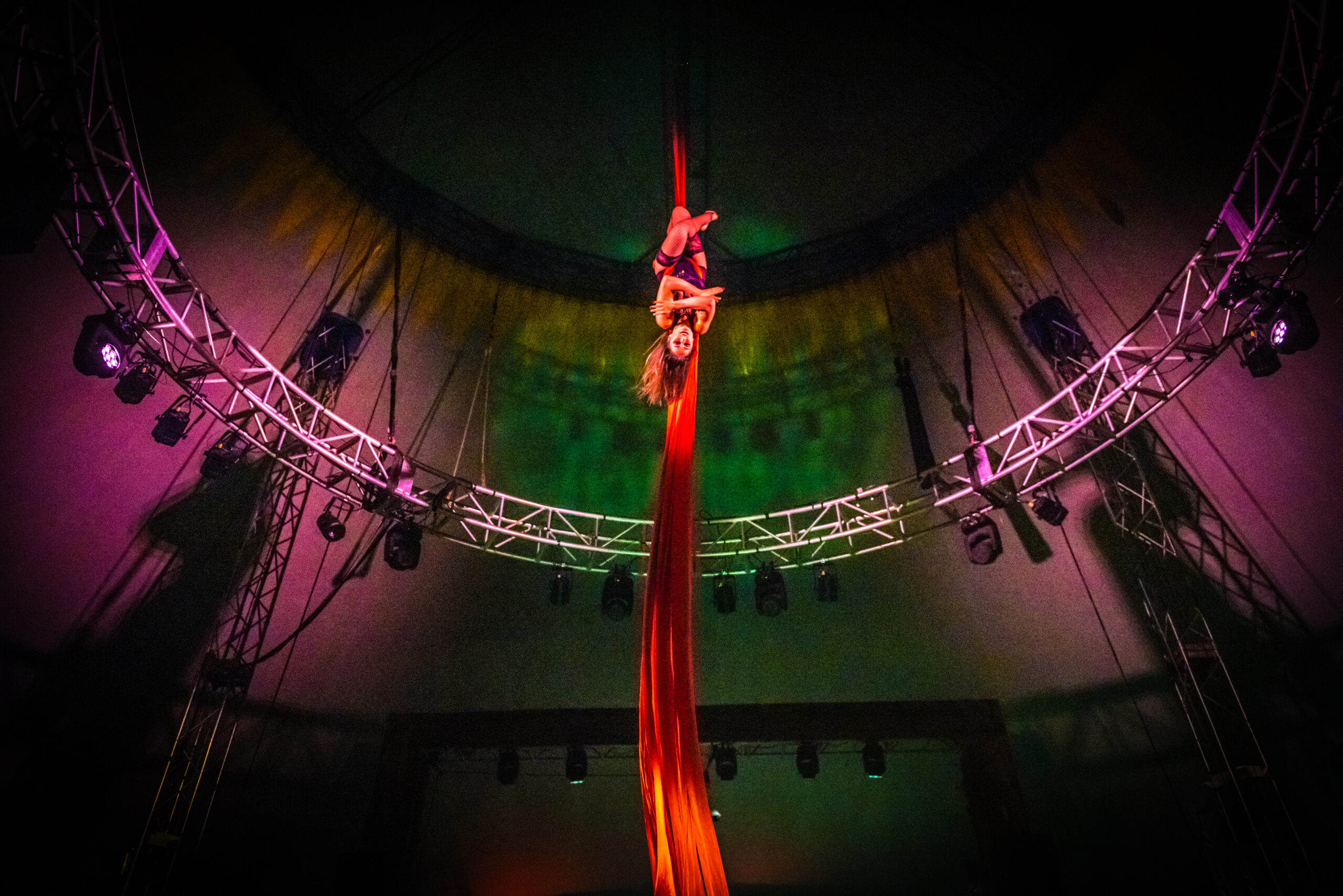 Image of Anastasia Sauvage performing at Vau de Vire's The Soiled Dove dinner theater Under the Tortona Big Top in Downtown Oakland