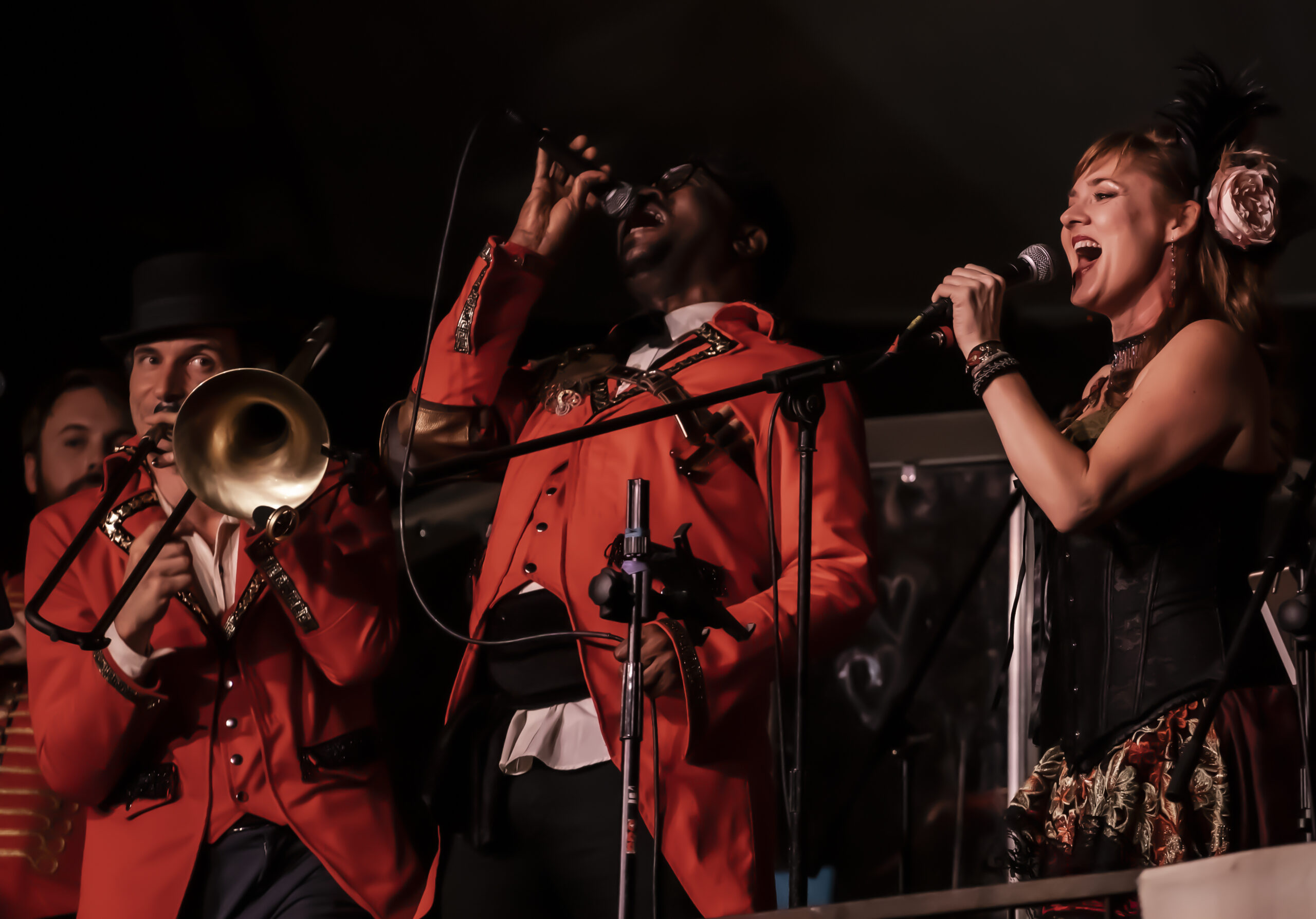Image of Jazz Mafia performing at Vau de Vire's The Soiled Dove dinner theater Under the Tortona Big Top in Downtown Oakland